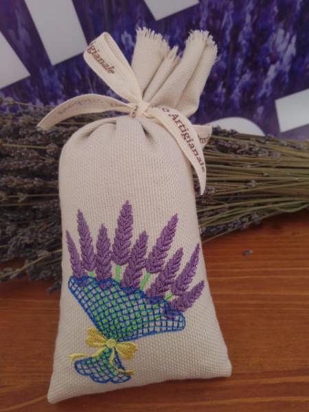 sacchetto cotone ricamato con circa 70 gr di lavanda mazzo di lavanda con fiocco
