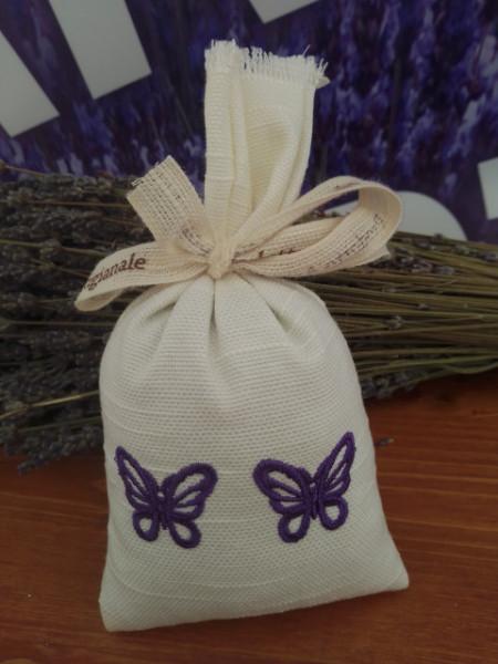 sacchetto cotone ricamato con circa 40 gr di lavanda 2 farfalle