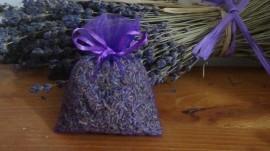 100 sacchetti di organza con lavanda viola 9x12 cm