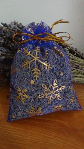 sacchetto lavanda in organza blu con stelle natalizie 10x13 cm circa
