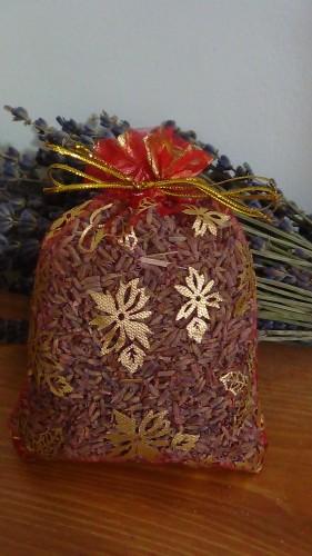 sacchetto lavanda in organza rosso con stelle e campane 10x13 cm circa