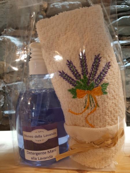500 ml detergente mani lavanda con asciugamano ricamato mazzo con fiocco 40x60 cm