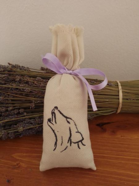 sacchetto cotone ricamato 7x18 cm con 30 gr di lavanda cane ulula
