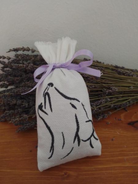 sacchetto in cotone ricamato di oltre 40 gr di lavanda modello cane