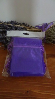 25 sacchetti organza viola 10x13 cm vuoti