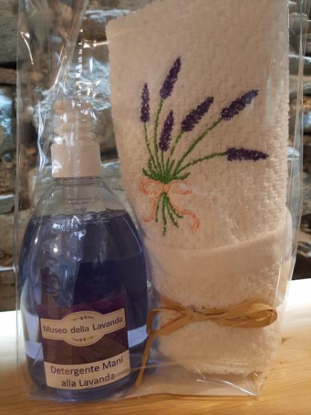 500 ml detergente mani lavanda con asciugamano ricamato spighe 40x60 cm