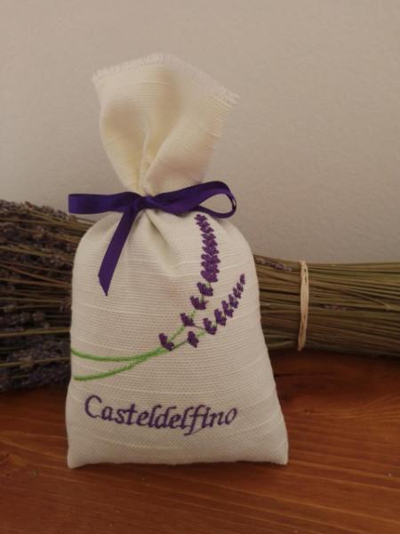 sacchetto cotone ricamato 18x11 cm oltre 50 gr lavanda 2 spighe con scritta