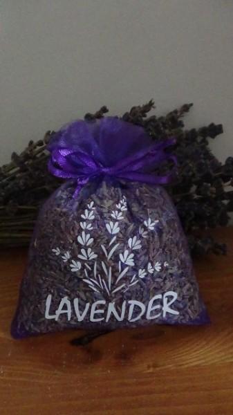 sacchetto di organza viola con circa 20gr di lavanda 10x13 cm con stampa lavender