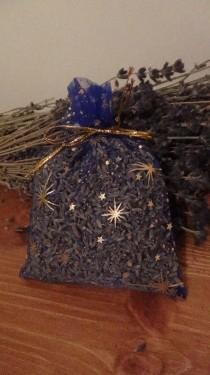 sacchetto lavanda in organza blu con stelle 10x13 cm circa