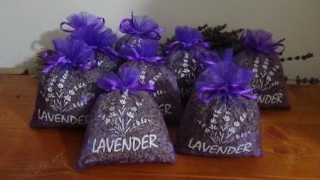 10 sacchetti di organza viola con circa 20gr di lavanda 10x13 cm con stampa lavender