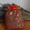 sacchetto lavanda in organza rosso con stelle natalizie 10x13 cm circa