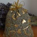 sacchetto lavanda in organza giallo con cuori 10x13 cm circa