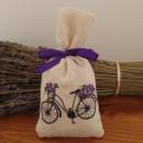 sacchetto cotone ricamato con circa 30 gr di lavanda bicicletta