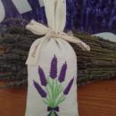 sacchetto cotone ricamato con circa 40 gr di lavanda mazzo di lavanda