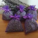 5 sacchetti di organza viola con circa 6gr di lavanda 6x8 cm