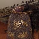 sacchetto lavanda in organza lilla con stelle e campane natalizie 14x10 cm circa
