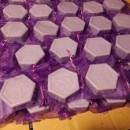 100 saponette artigianali esagonale lavanda 100gr in sacchetto di organza