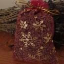 sacchetto lavanda in organza fucsia con stelle natalizie 10x13 cm circa