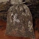 sacchetto lavanda in organza ghiaccio con campane natalizie 10x13 cm circa