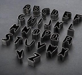 Set Lettere Alfabeto Stampi Incisione Tagliapasta In Metallo