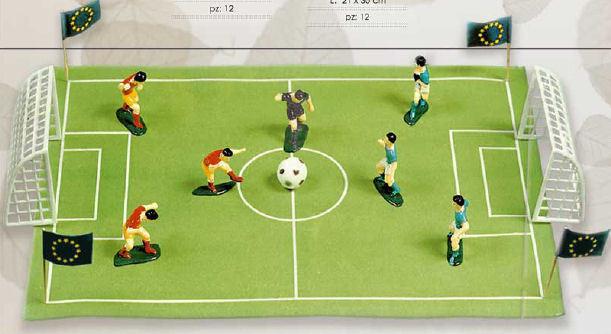 Set di giocatori calcio con le porte e pallone