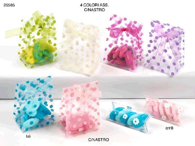 Top Confezione di 12 Bustine in PVC trasparente.Vari colori a Pois. RH46