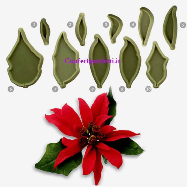 Stampo Stella Di Natale.Stella Di Natale Poinsettia Set Di 10 Stampi Cutter Set Of 10 Jem