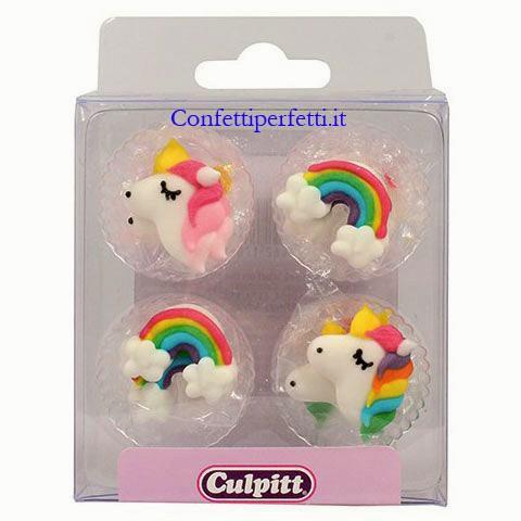 Unicorno. Set di 12 decorazioni in zucchero a tema Unicorno e Arcobaleno.  Culpitt immagini
