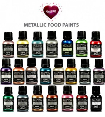 Ciliegia Metallizzato. Rainbow Dust. Vernice Perlescente. Food Paints.25 ml. immagini