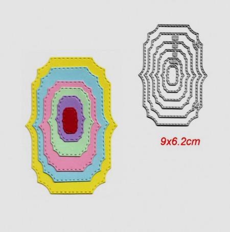 Cornice Decorata Ovale con punte. 6 Fustelle sottili metalliche per Scrapbooking