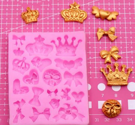 Fiocco e Corona Stampo in silicone in 19  forme