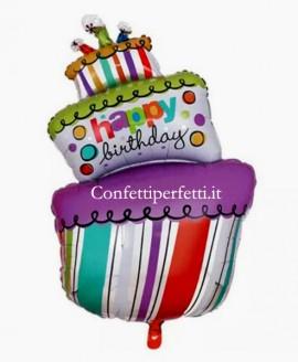 Palloncino gigante in Mylar a forma di Torta svasata con scritta Happy Birthday !!