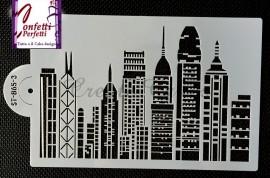 Stencil ST-865-3 in policarbonato leggero per creare una bellissima Città con Grattacieli.