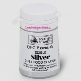 ARGENTO. Colorante Lipo in polvere QFC Quality Food Colour Dust Silver. Senza glutine. Squires Kitchen immagini