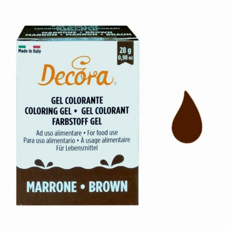 MARRONE Gel 28 g. Nuovi Coloranti Alimentari. Decora.
