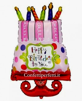 Palloncino gigante in Mylar a forma di Torta con candeline con scritta Happy Birthday !!