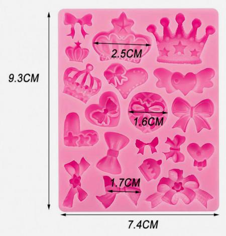 Fiocco e Corona. Stampo in silicone in 19  forme