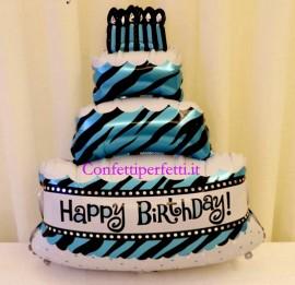 Palloncino gigante in Mylar a forma di Torta a piani con scritta Happy Birthday !!