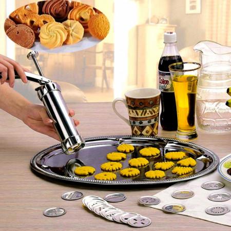 Siringa per biscotti in alluminio con 20 Trafile