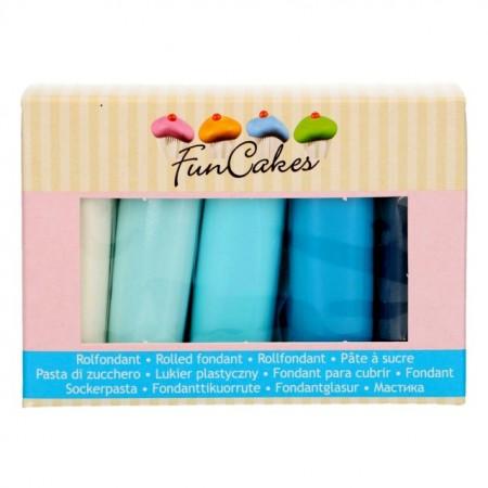 Blu pastello, Blu baby, Blu mare, Blu denim e Bianco brillante. Pasta di zucchero. Senza Glutine