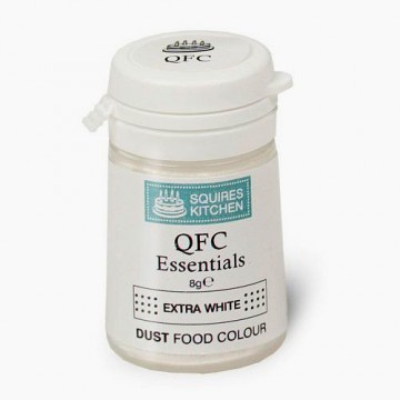 Colorante Lipo Extra BIANCO in polvere QFC Quality Food Colour Dust Extra White 8 gr. Senza glutine. Squires Kitchen immagini