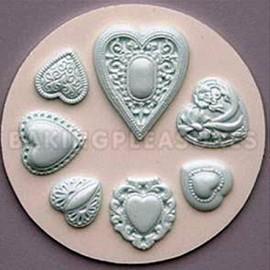 Cuori decorati. Stampo in silicone di 7 bellissime decorazioni