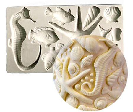 Grande stampo Mare in silicone. Pesci Conchiglie Cavalluccio e Stella marina