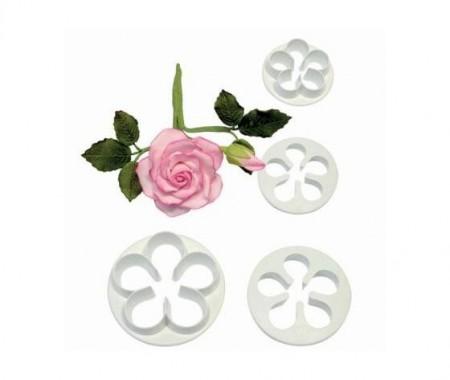 Rosa a 5 petali. 4 Cutter in plastica per la pasta di zucchero