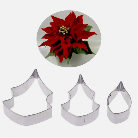 Stella di Natale. Set di 3 cutter in metallo per il cake design