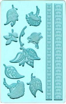 Boccioli e Fiori più 2 bordi decorativi. Stampo in silicone