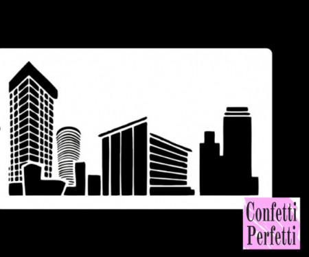 Città con Grattacielo Stencil in policarbonato