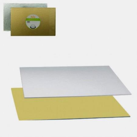 Oro/Argento. 60x40 Rettangolare. Cake Board alti 4 mm. immagini