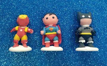 Set di 3 Super Eroi 3D in pdz. Batman Flash e Superman. Modecor immagini