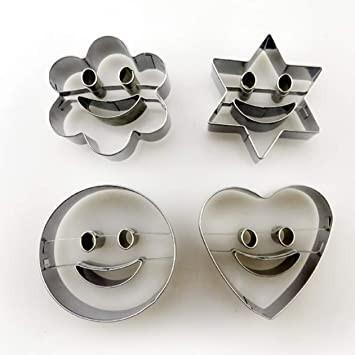 Smile con Stella Fiore Cuore e Cerchio.Set di 4 Stampi Tagliapasta in Metallo.